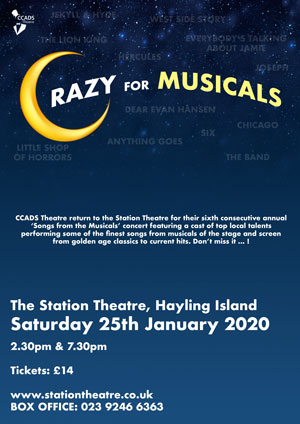 Hayling Island What's On Event Crazy for Musicals Poster